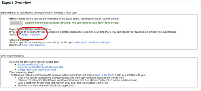 """As you will have to use IE for the data migration, it will ask you to install ActiveX Control and is absolutely necessary to complete the process. If you're working on a hosted setup, then you will have to ask your support staff to install it for you from their end. Once the ActiveX plugin is installed, and the Export Overview page loads, the next thing you need to do is to click on the """"Export interview"""" link. step2"""